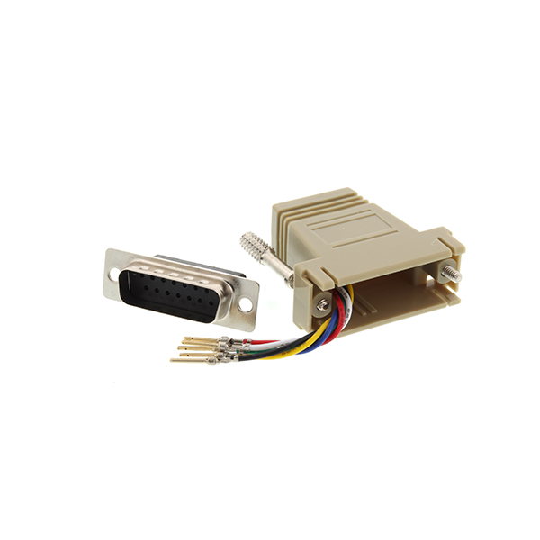 Beige DB15 male to RJ11 RJ12 female modular adapter kit