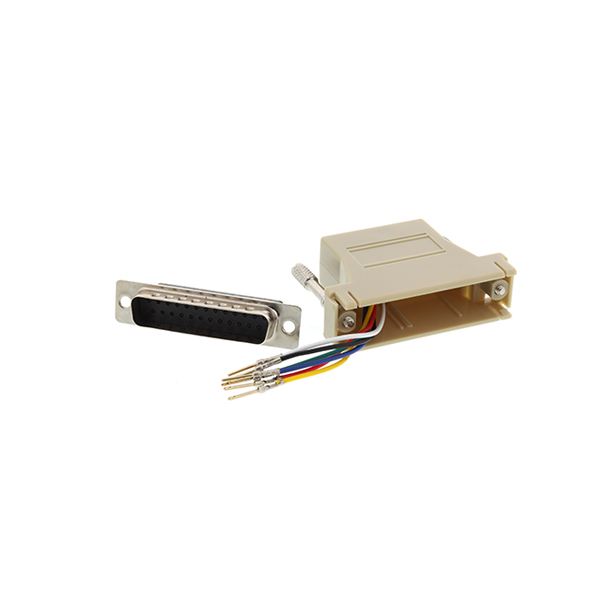 Beige DB25 female to RJ12 female modular adapter kit