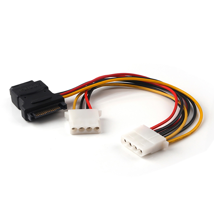 HDD 15 Pin SATA to 3x 4 Pin Molex Power Y Cable