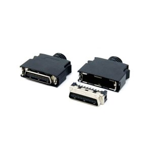 SCSI MDR 36 connector with clip and ABS Hood
