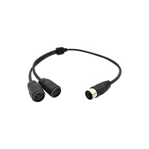 5P MIDI Din Plug to Dual Female Jack Y Splitter Cable